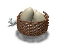 Easter card with rabbit and eggs in the basket Royalty Free Stock Photography