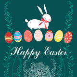 Easter card with rabbit and eggs Royalty Free Stock Photography