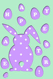 Easter card with rabbit and eggs shape Stock Images