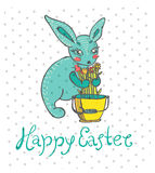 Easter card with rabbit and flowers Stock Photo