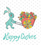Easter card with rabbit and flowers Stock Images