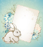 Easter card with rabbit and flowers Royalty Free Stock Photography