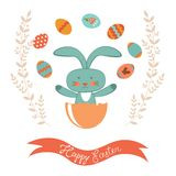 Easter card with rabbit hatching Royalty Free Stock Photos