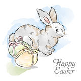 Easter card with rabbit and two eggs Stock Images