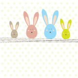 Easter card with rabbit . Vector illustration Stock Photos