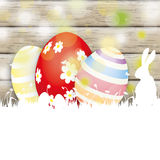 Easter Card Rabbit Wood 3 Eggs Royalty Free Stock Photo