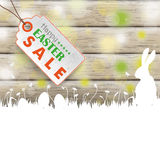 Easter Card Rabbit Wood Price Sticker Royalty Free Stock Image
