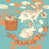 Easter card with rabbits Stock Photos