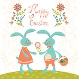 Easter card with rabbits Royalty Free Stock Photo