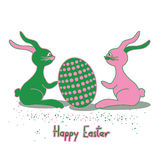 Easter card with rabbits and egg Royalty Free Stock Photos