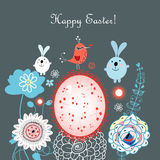 Easter card with rabbits and eggs Stock Image
