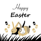 Easter card with rabbits and eggs Stock Photo