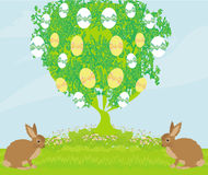 Easter card with rabbits and tree Royalty Free Stock Image