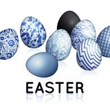 Easter card with realistic Easter egg and inscription. `Easter`. Floral, geometric, and marble patterns. Blue, white and black color. Vector illustration art Royalty Free Stock Image