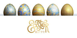 Easter card with realistic Easter egg and inscription. `Happy Easter`. Floral, geometric, and marble patterns. Gold foil, white and blue color. Vector Stock Images