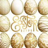 Easter card with realistic Easter eggs and inscription. `Happy Easter`. Marble, geometric and floral patterns. Gold foil and white color. Vector illustration Stock Images