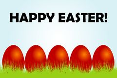 Easter card with red eggs and grass vector illustration