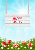 Easter card with red eggs Stock Photography