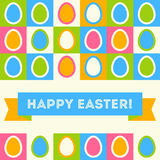Easter card in retro style. Simple flat Easter icons. Royalty Free Stock Photo