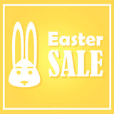 Easter card with sales on a festive day. A rabbit on a yellow background is depicted. With a simple thin rectangular frame. Royalty Free Stock Photo