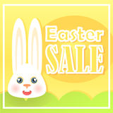 Easter card with sales on a festive day with stylish design. Easter card with sales on a festive day with stylish design, a rabbit on a yellow gradient Stock Images