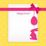 Easter card and seamless pattern with eggs, rabbits, birds Royalty Free Stock Photo