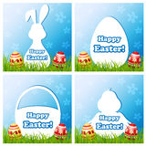 Easter card set with different silhouette text box Stock Image