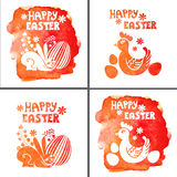 Easter card set.Watercolor stamps,rabbit,egg Royalty Free Stock Image