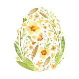 Easter card in the shape of an egg with Easter eggs, pussy willow, feathers and spring flowers.