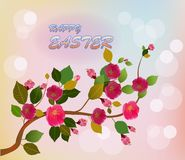 Easter card with  spring flowers stock photo