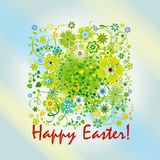 Easter card with spring flowers. And greeting Happy easter Stock Images