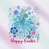 Easter card with spring flowers. And greeting Happy easter Royalty Free Stock Images