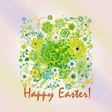 Easter card with spring flowers. And greeting Happy easter Royalty Free Stock Image