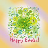 Easter card with spring flowers. And greeting Happy easter Royalty Free Stock Photo