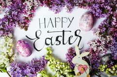 Easter card with spring flowers and painted eggs. Happy Easter card with spring flowers and painted eggs royalty free stock image