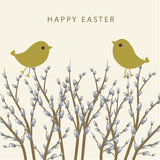 Easter card with spring landscape. Stock Photos