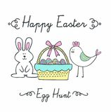 Easter card story bunny and chick. Vector art background,print or illustration Stock Images