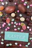 Easter card and sweets. Stock Images