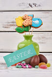 Easter card and sweets. Royalty Free Stock Photo