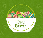 Easter card template - basket with colored eggs and flowers Royalty Free Stock Image