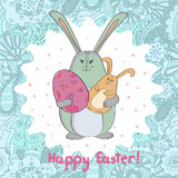 Easter card template design. Cute rabbit with Easter egg. Royalty Free Stock Photos