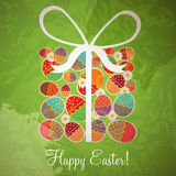 Easter card template - gift box from eggs Stock Photos