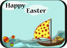 Easter card template with rabbit. On boat Stock Photo