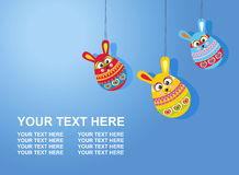 Easter card with text three Easter rabbit eggs on gradient backg Royalty Free Stock Image