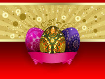 Easter card with three eggs. Easter card of gold and red color with three colorful eggs and pink ribbon Stock Image