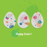 Easter card with three eggs. Funny greeting card for Easter with three eggs Stock Image