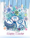 Easter card with traditional Romanian Easter eggs and spring flowers stock illustration