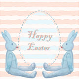 Easter card with two bunny toys and an easter egg in old-fashion Stock Image