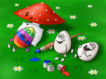 Easter card with two eggs making prank on a third one. Funny Easter illustration with eggs on a grass Stock Photos