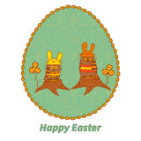 Easter card. Two owls on stumps. Royalty Free Stock Images